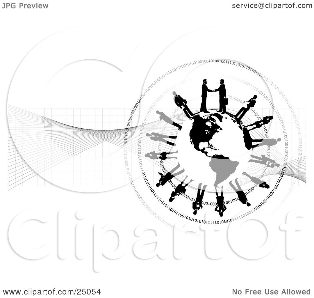 Clipart Illustration Of Two Professional Businessmen Shaking Hands On Top Of A Black And White