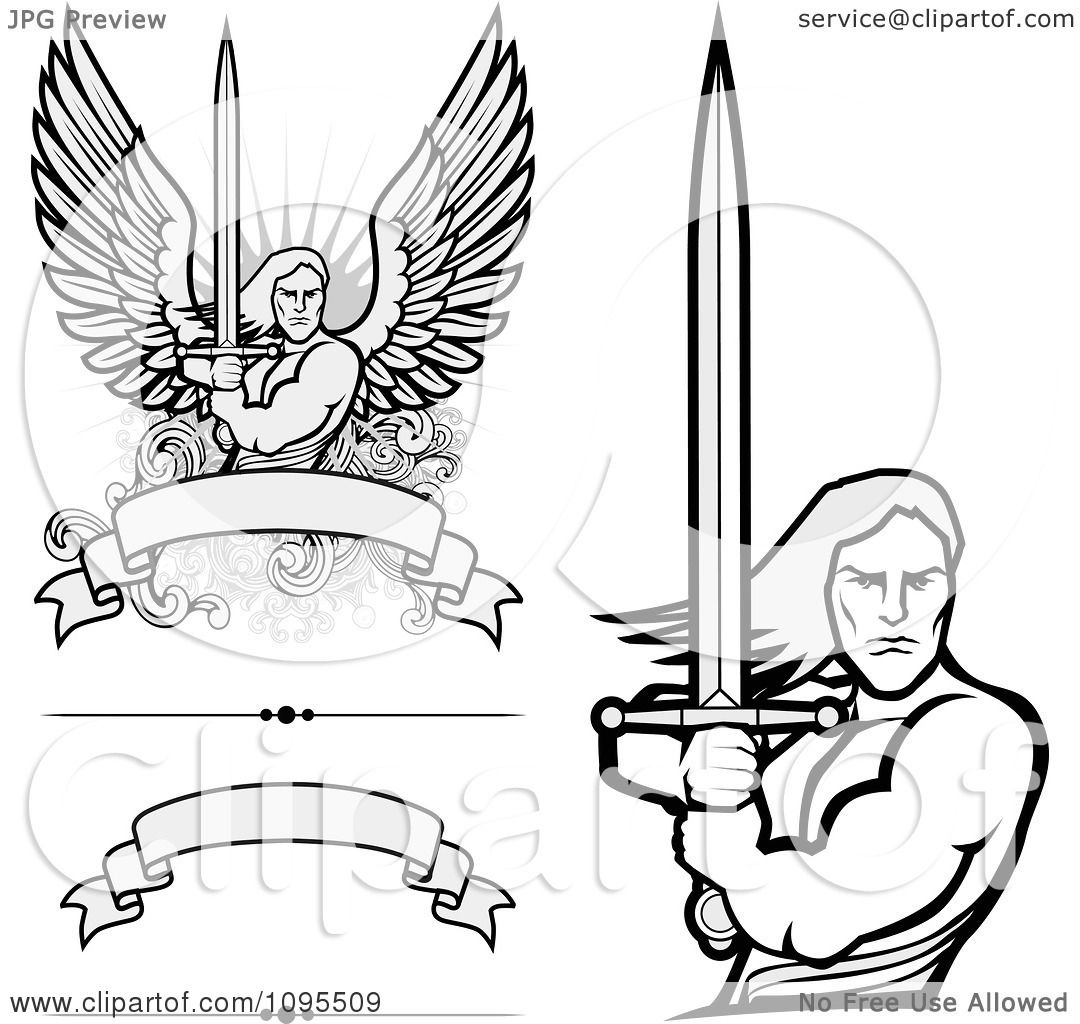 Clipart Male Angel Warriors Holdinh Swords And Blank