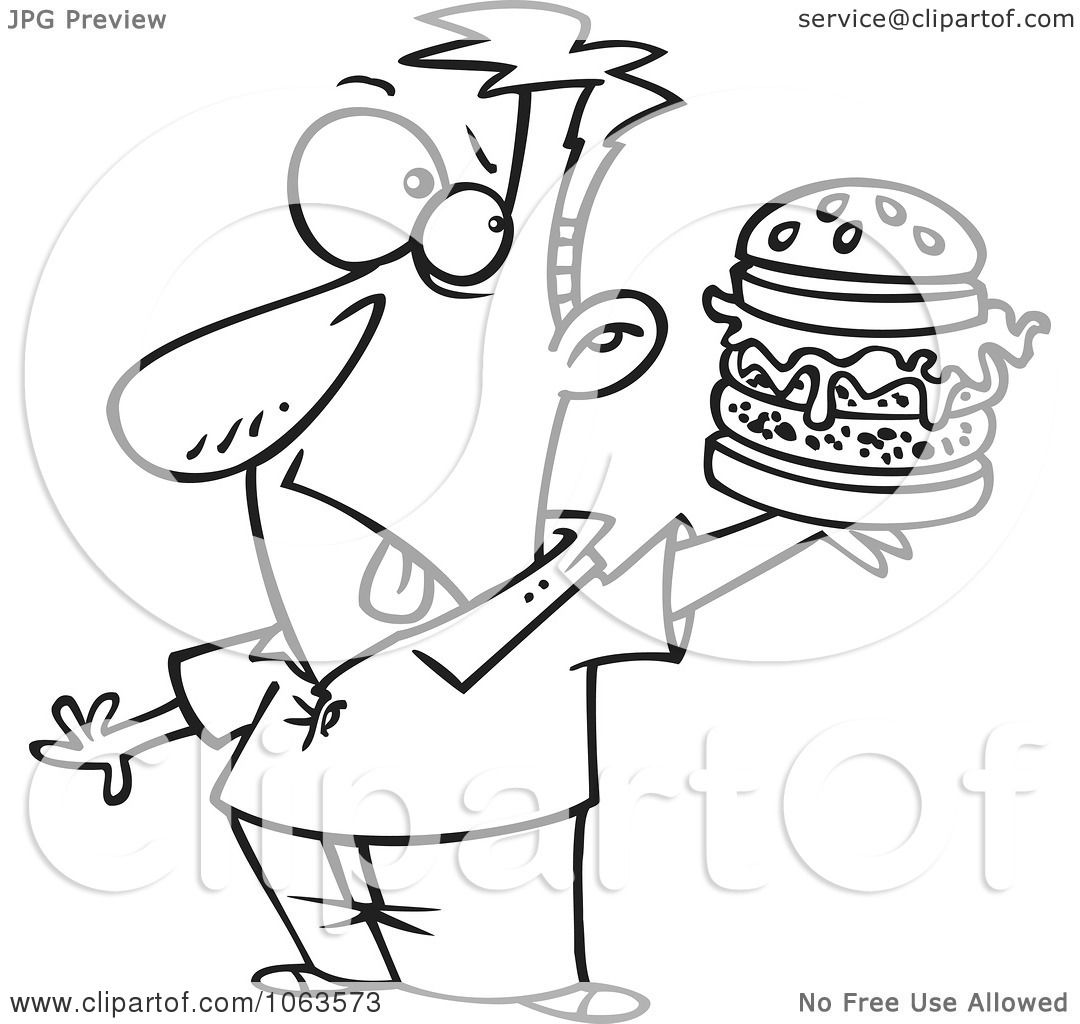 Clipart Man Holding A Reject Burger Black And White