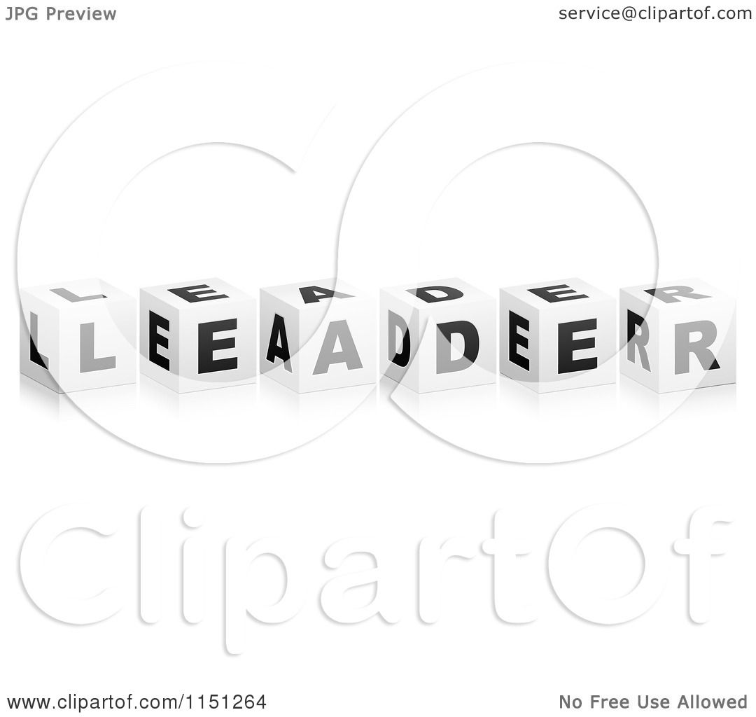 Clipart Of 3d Black And White Letter Cubes Spelling Leader