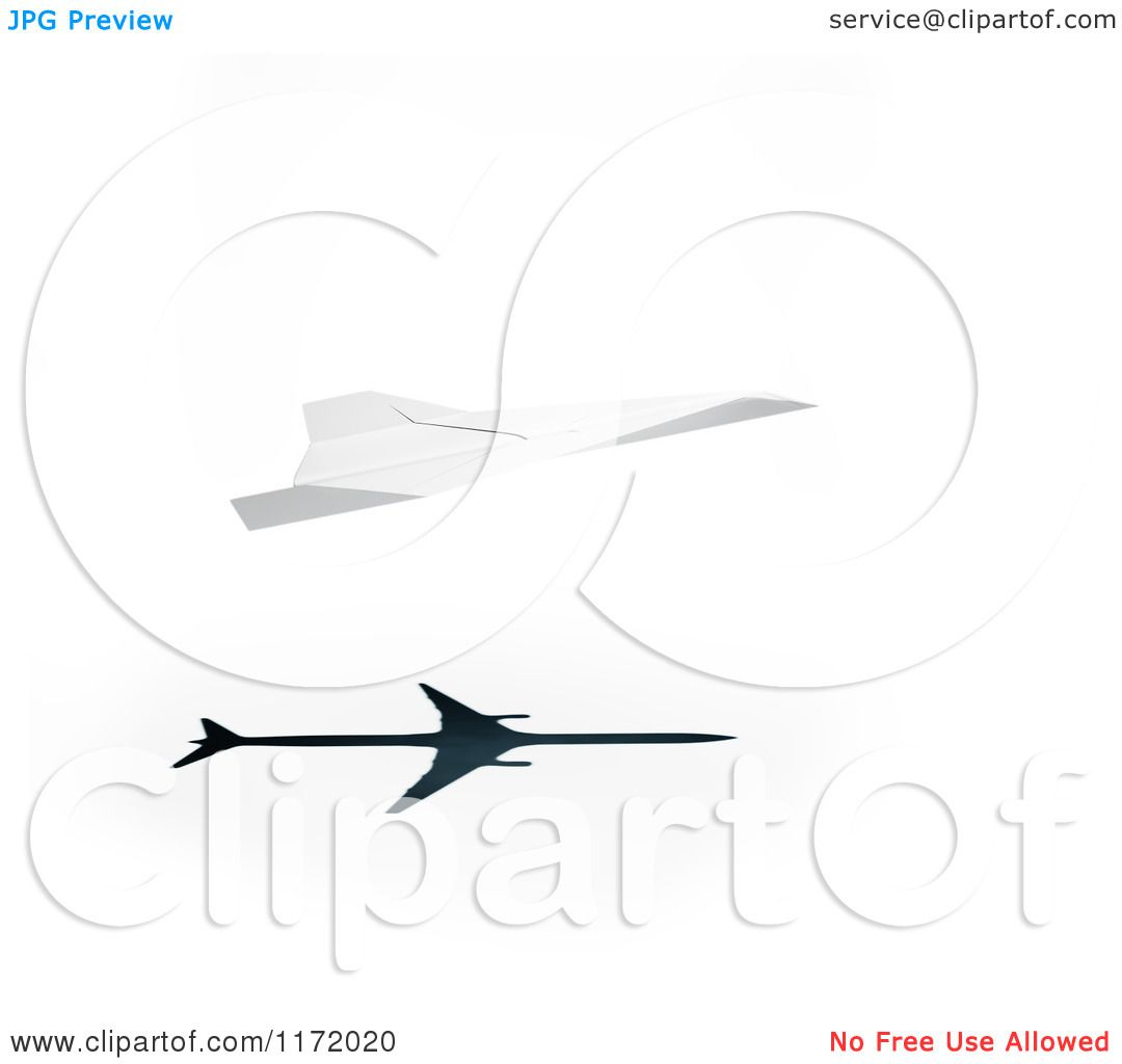 Clipart Of A 3d Paper Plane With A Jetliner Shadow On