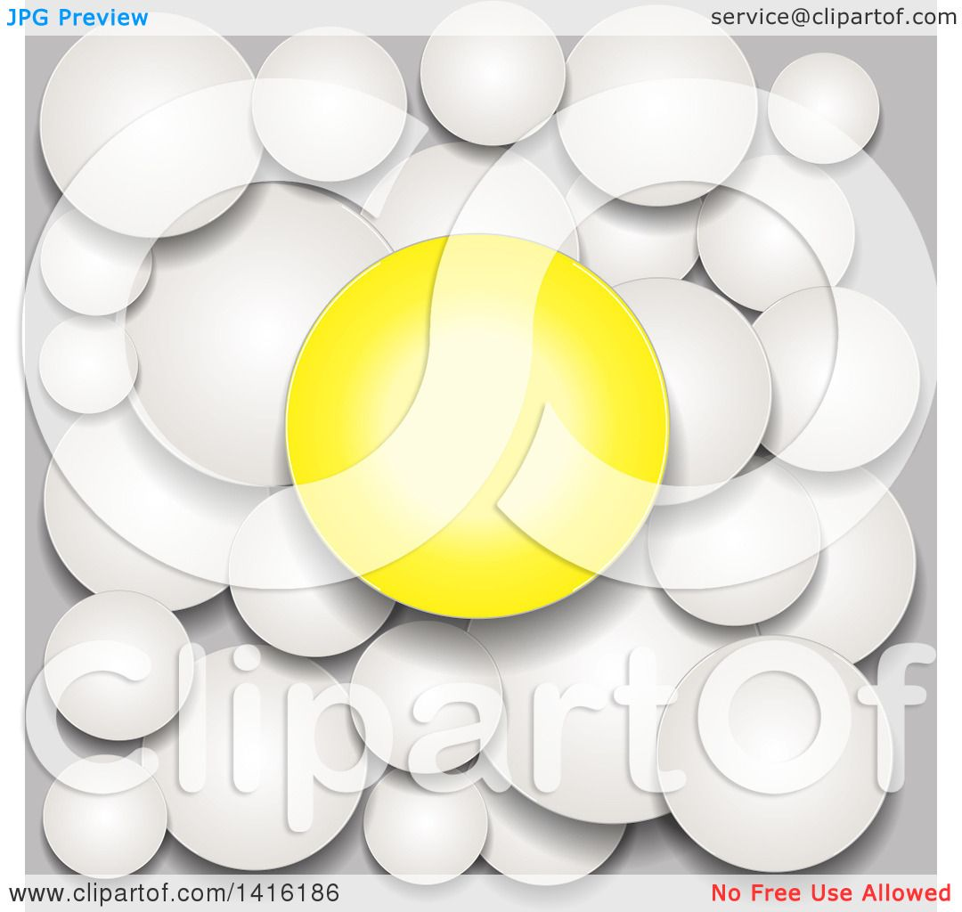 Clipart Of A 3d Yellow Circle Over Gray Bubbles