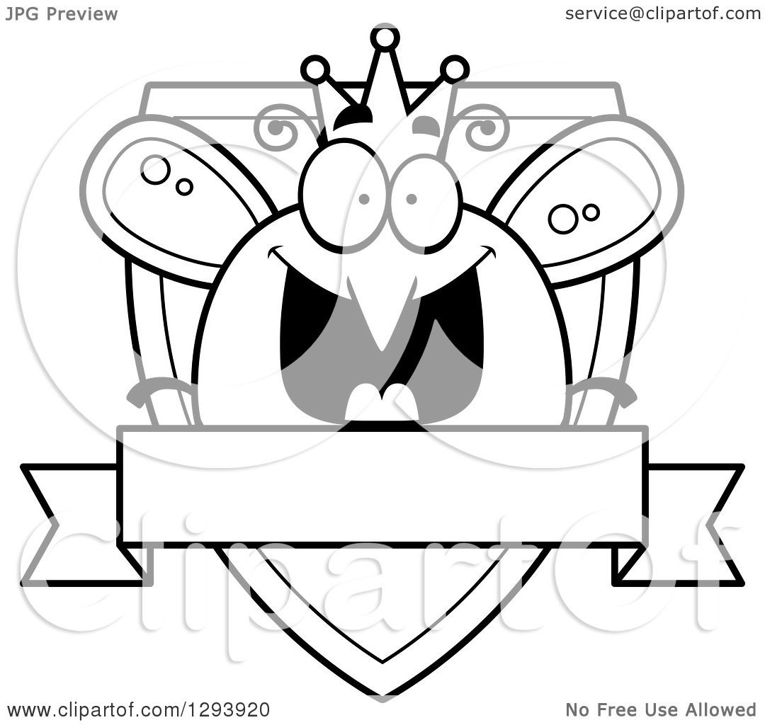 Clipart Of A Badge Or Label Of A Black And White Happy
