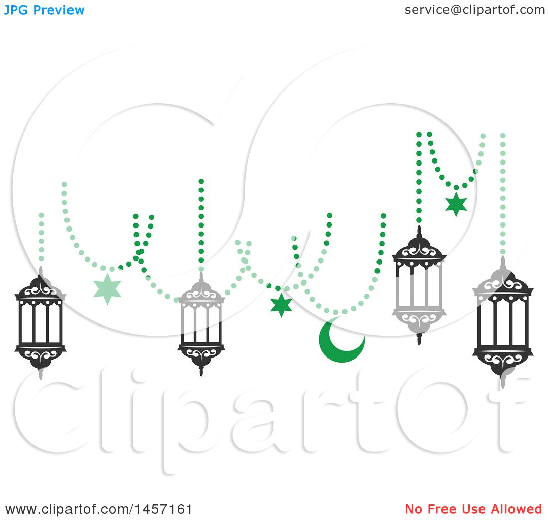 Clipart Of A Black And Green Ramadan Kareem Design With A
