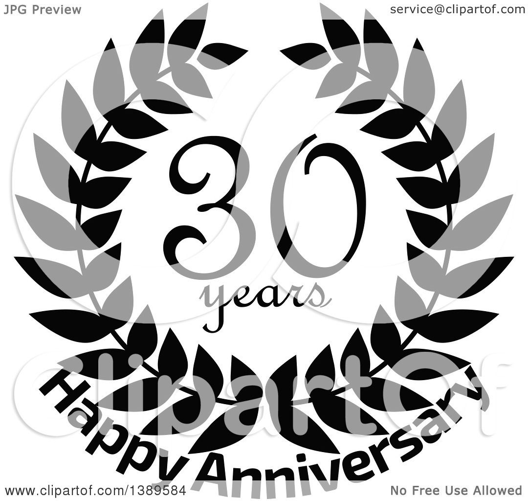 Download Clipart of a Black and White 30 Year Happy Anniversary ...