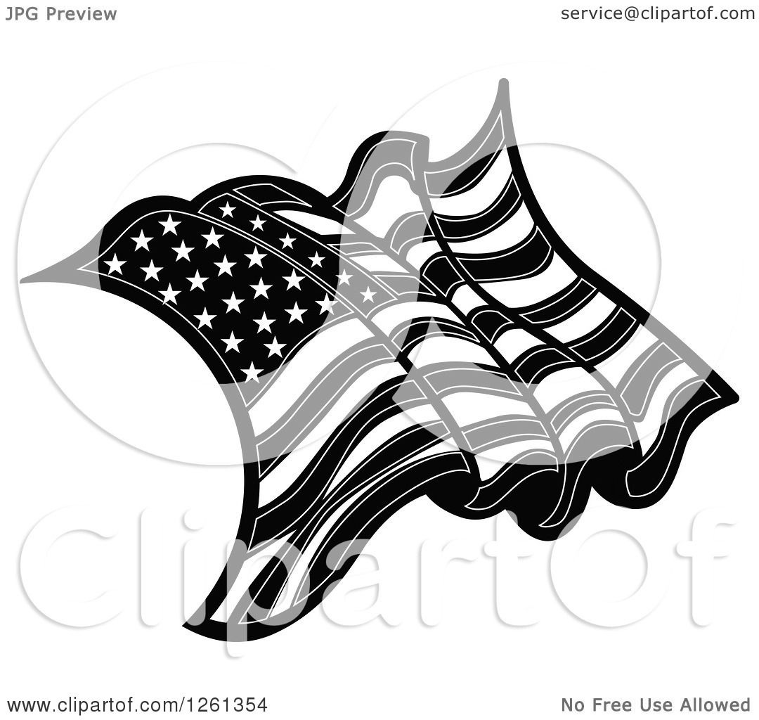 Clipart Of A Black And White American Flag