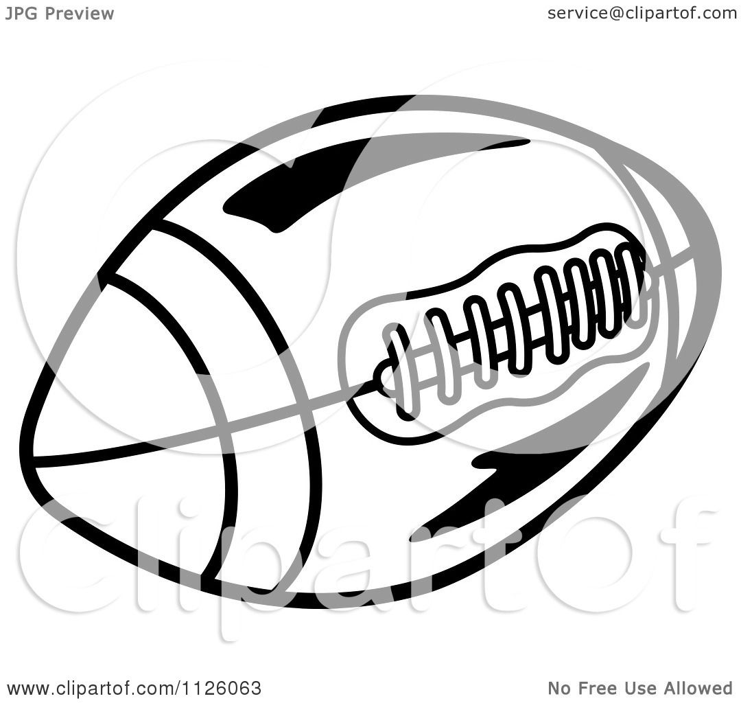 Clipart Of A Black And White American Football 3