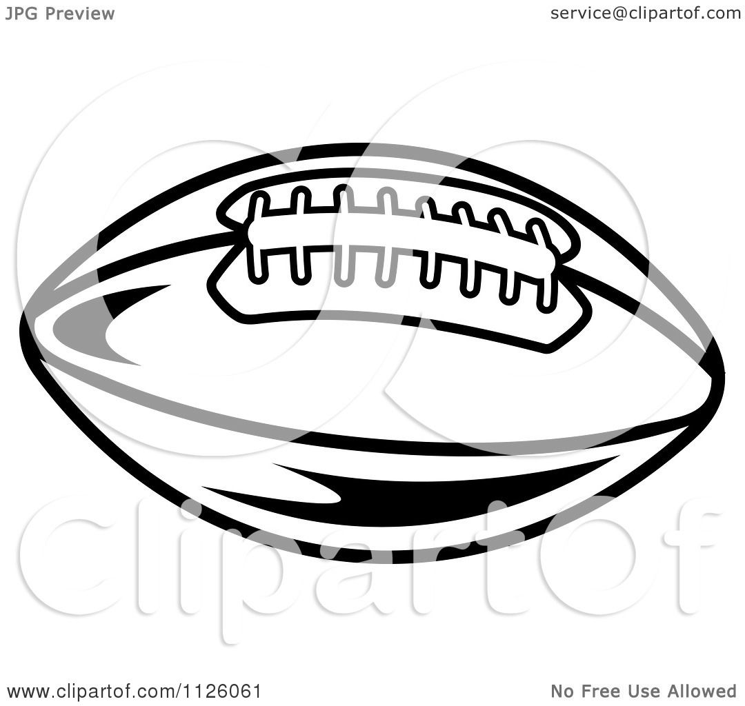 Clipart Of A Black And White American Football 4