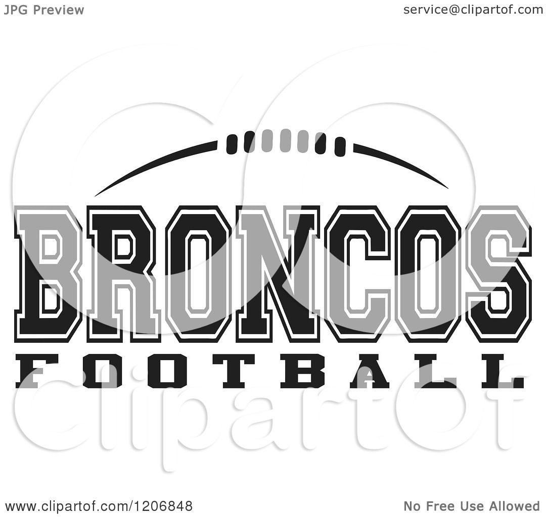 Clipart Of A Black And White American Football And Broncos