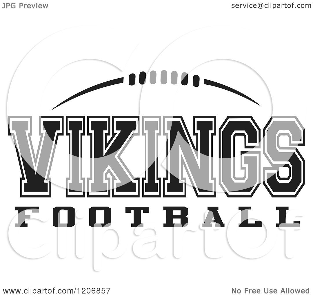 Clipart Of A Black And White American Football And Vikings