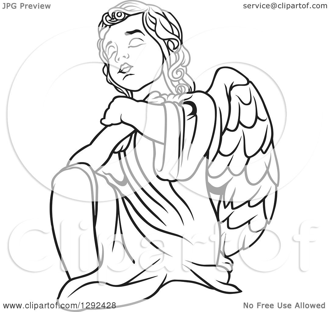 Clipart Of A Black And White Angel Kneeling And Praying