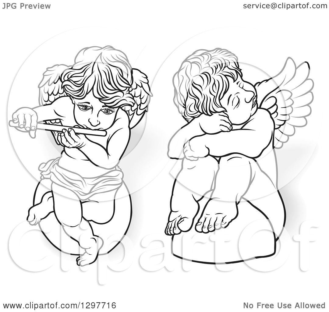 Clipart Of A Black And White Angels Sitting On Rocks One