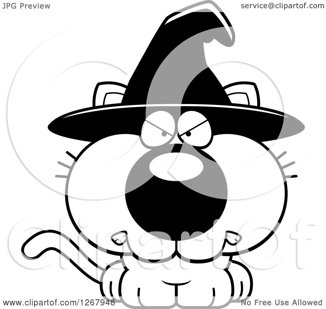 Clipart Of A Black And White Angry Halloween Witch Cat