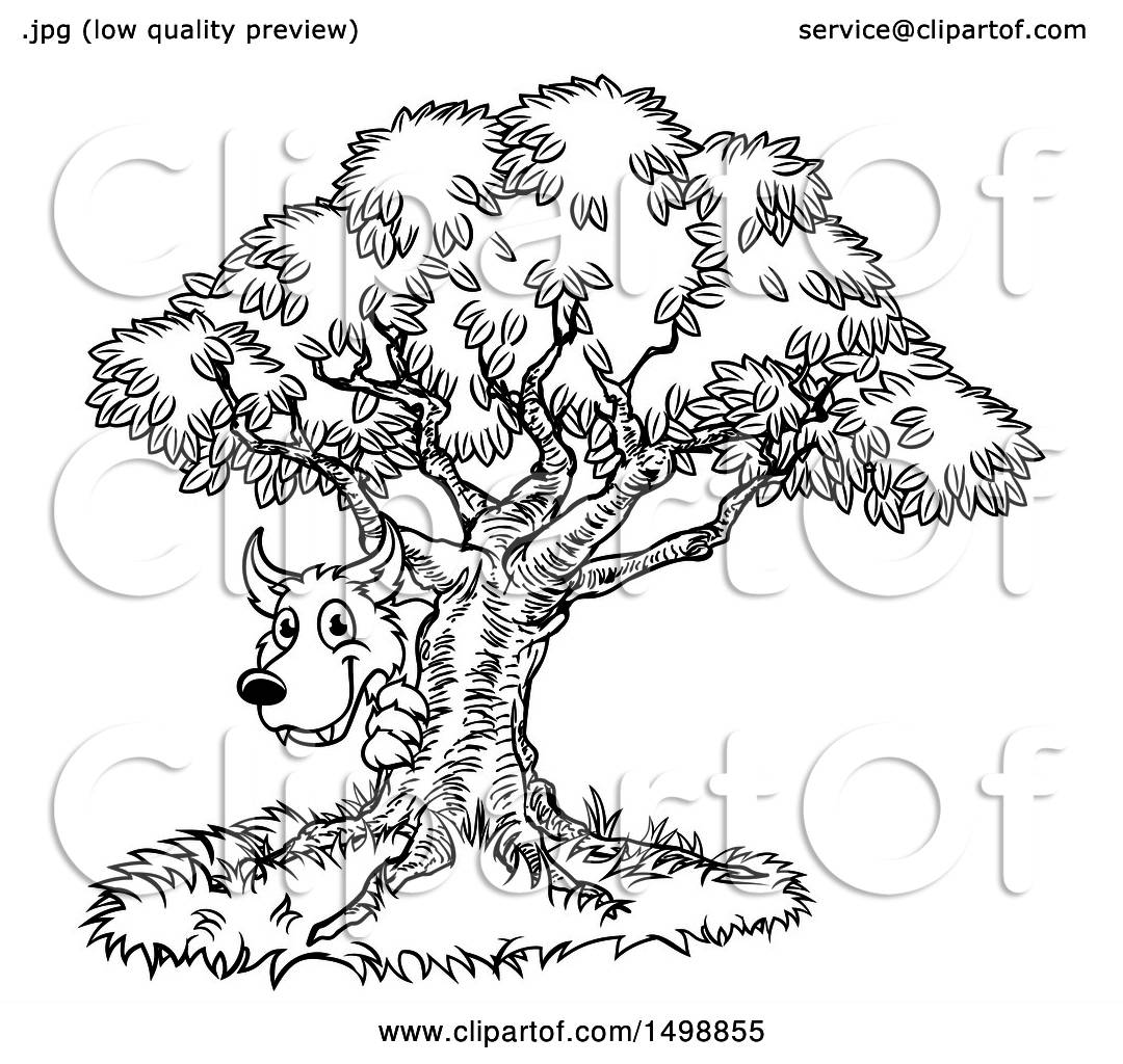 Clipart Of A Black And White Bad Wolf Peeking From Behind