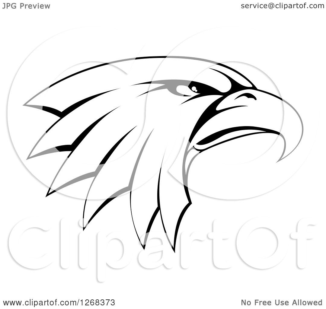 Clipart Of A Black And White Bald Eagle Head In Profile