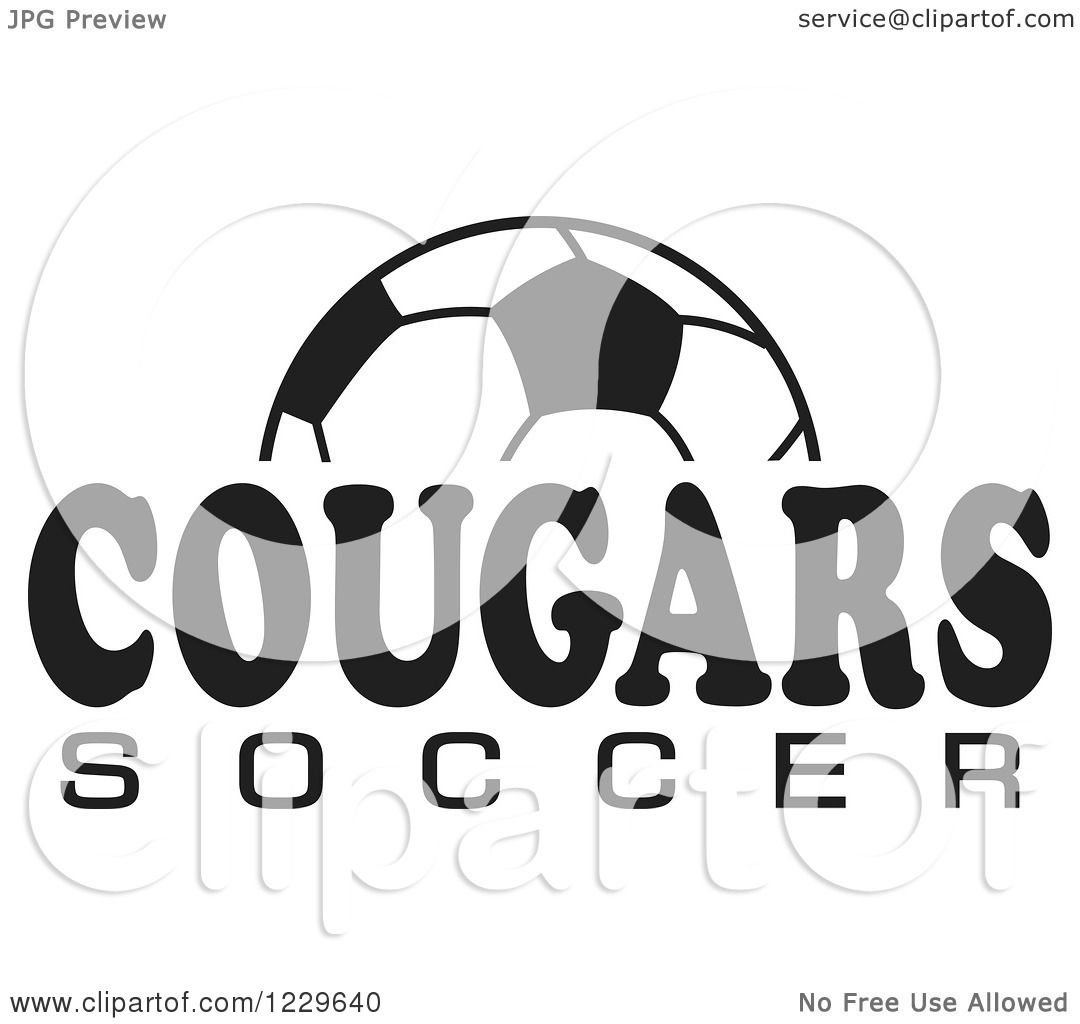Clipart Of A Black And White Ball And Cougars Soccer Team