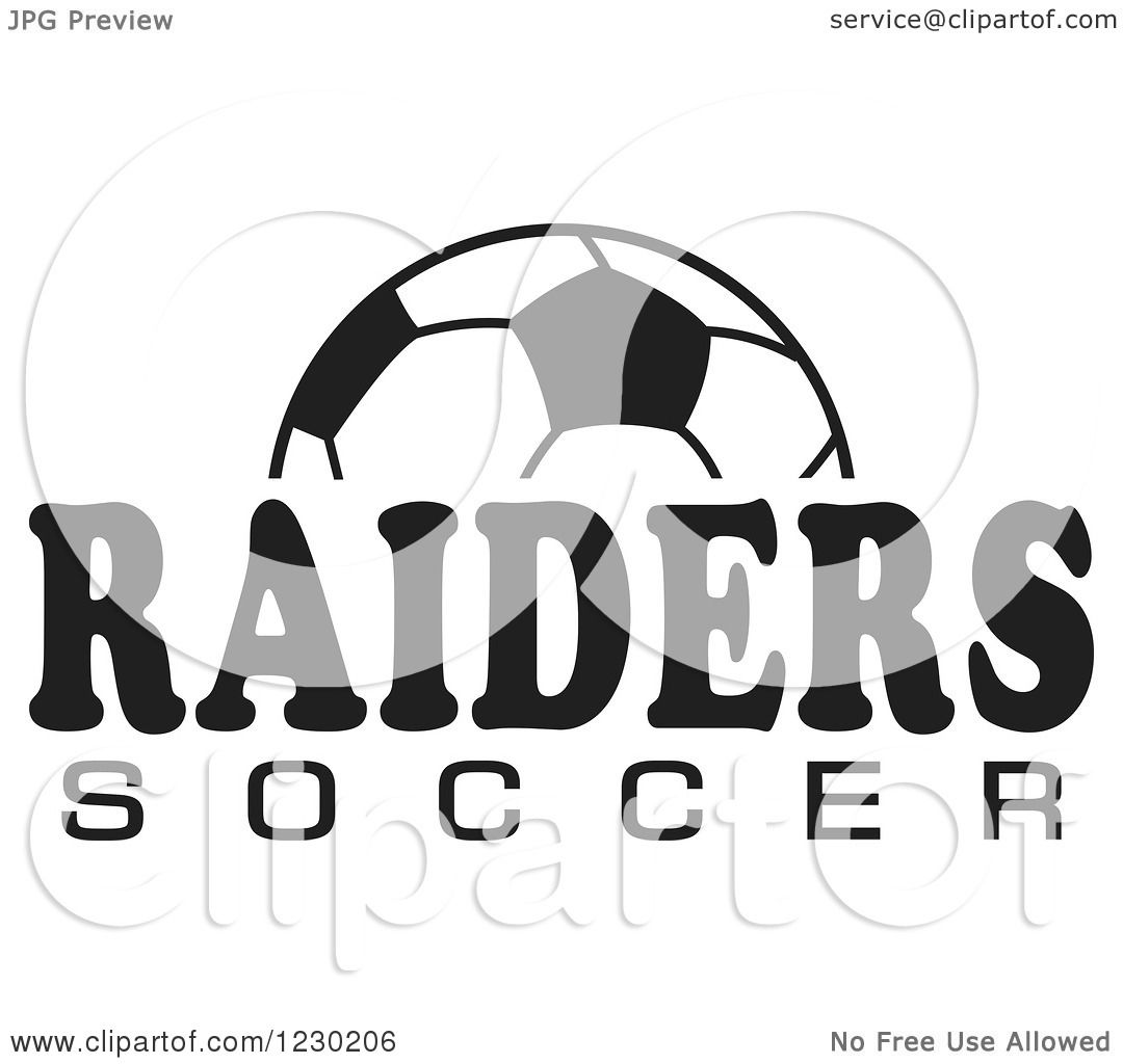Clipart Of A Black And White Ball And Raiders Soccer Team