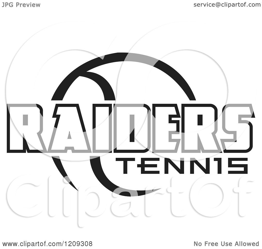 Clipart Of A Black And White Ball And Raiders Tennis Team