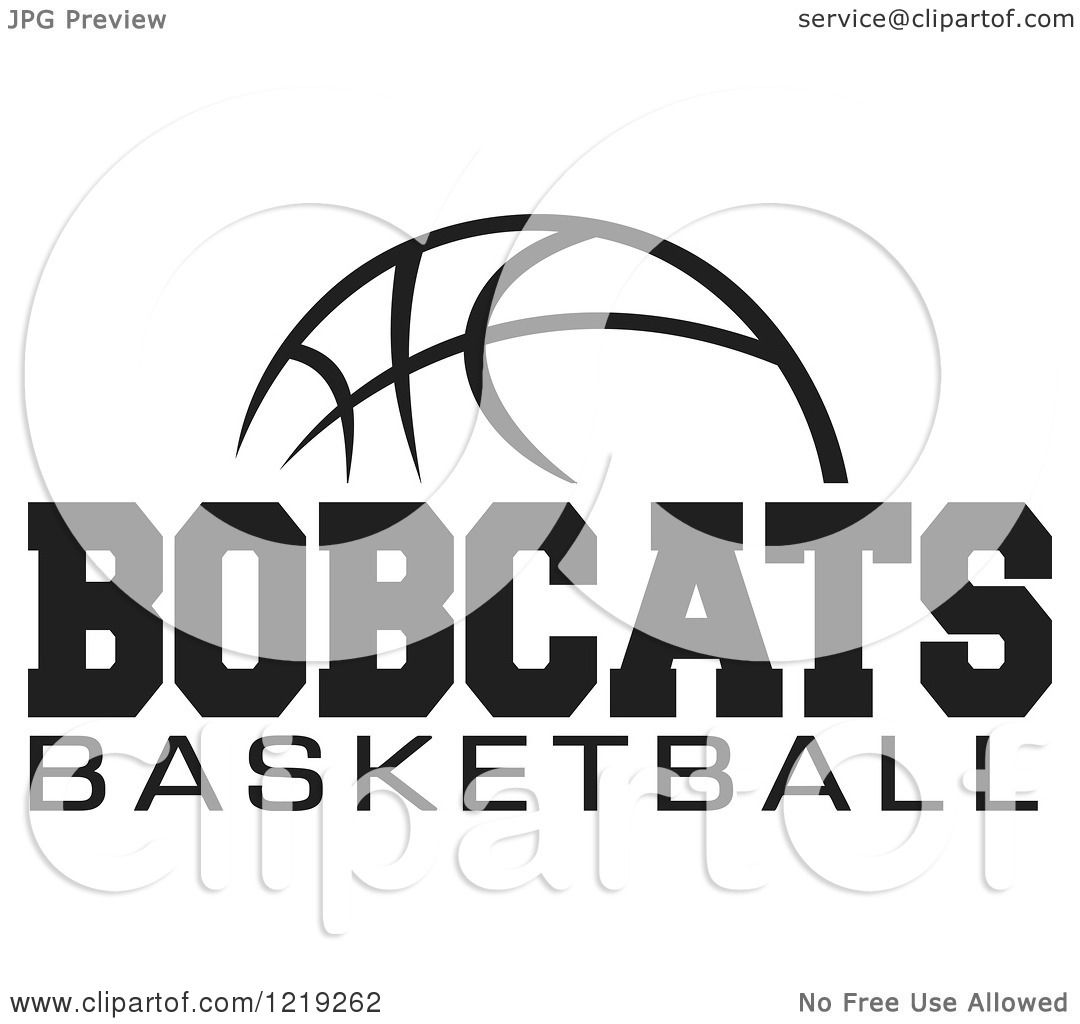 Clipart Of A Black And White Ball With Bobcats Basketball