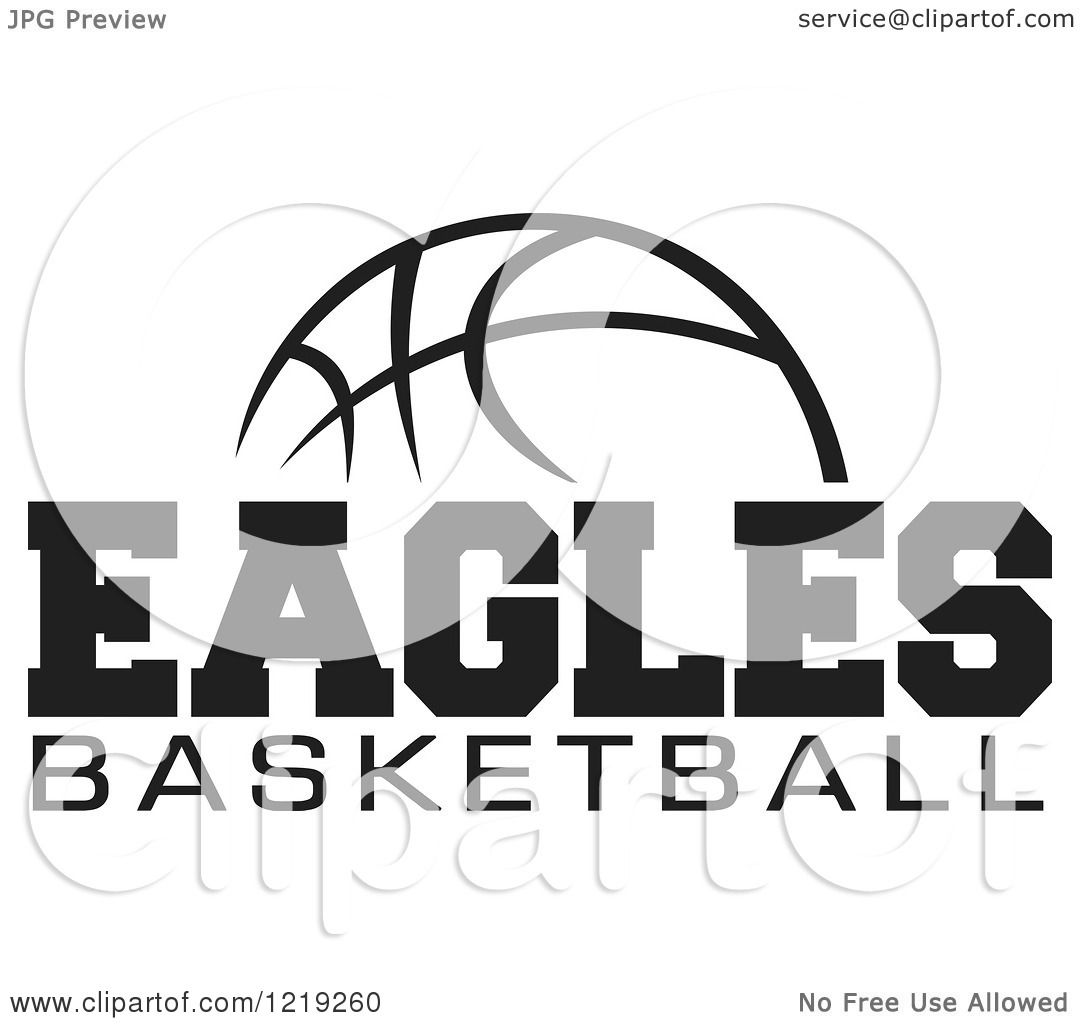 Clipart Of A Black And White Ball With Eagles Basketball
