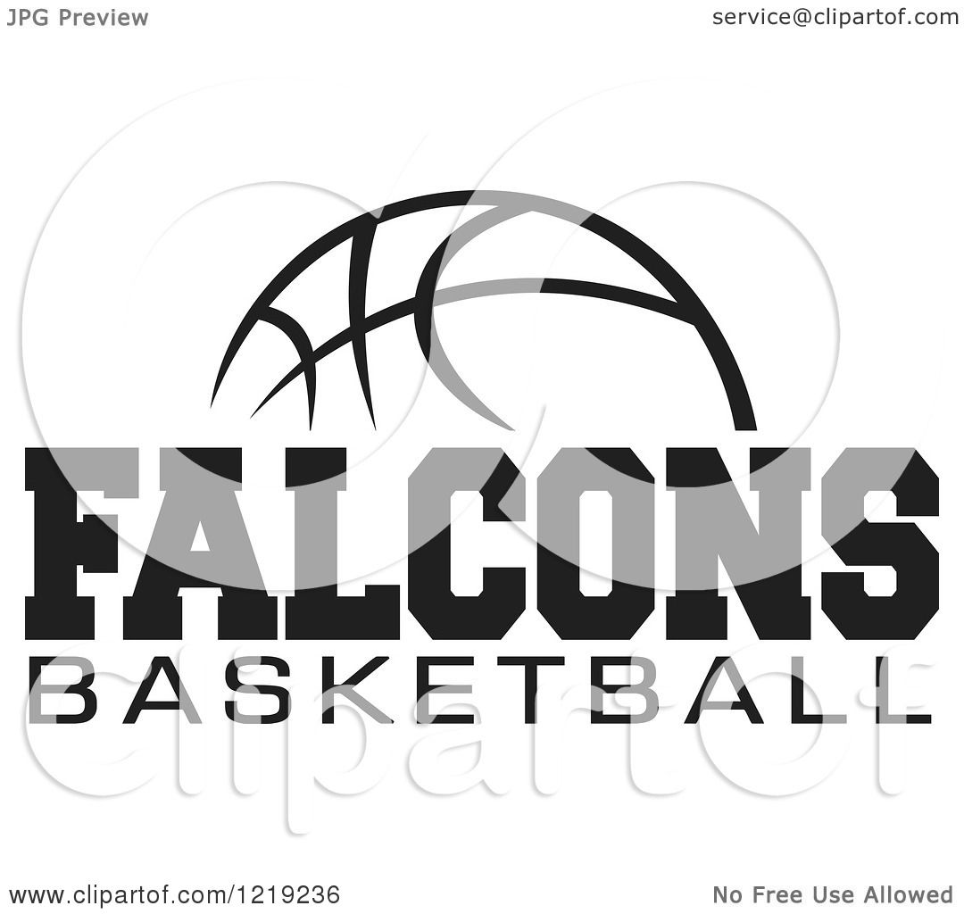 Clipart Of A Black And White Ball With Falcons Basketball