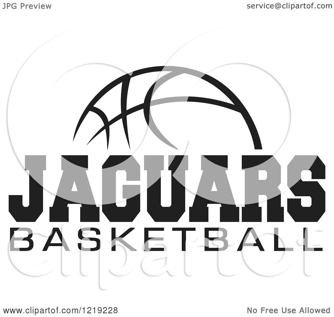 Clipart Of A Black And White Ball With Jaguars Basketball