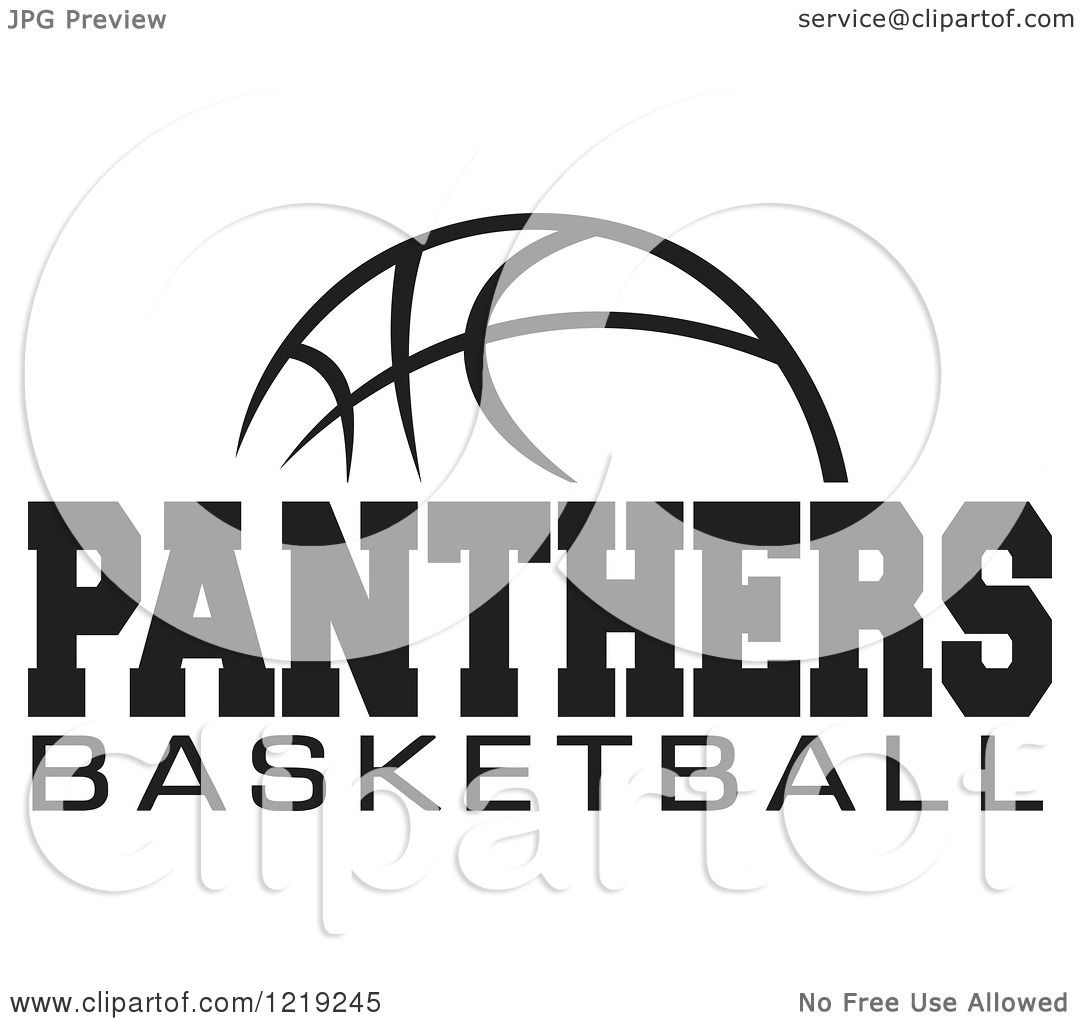 Clipart Of A Black And White Ball With Panthers Basketball