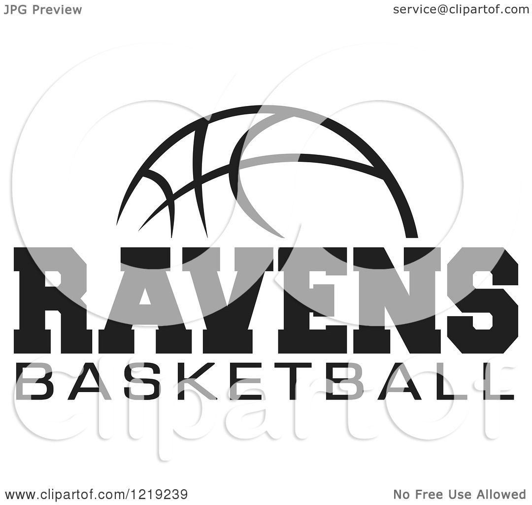 Clipart Of A Black And White Ball With Ravens Basketball