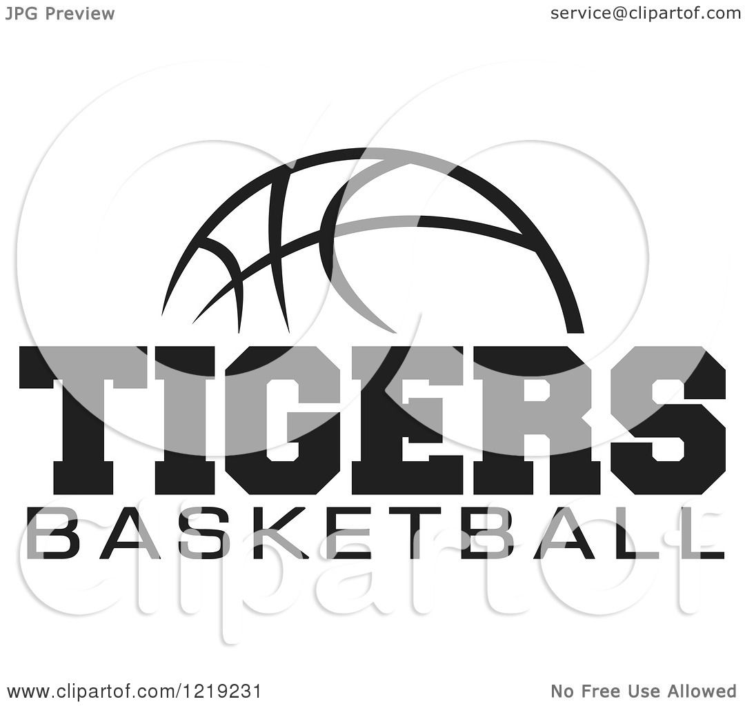 Clipart Of A Black And White Ball With Tigers Basketball