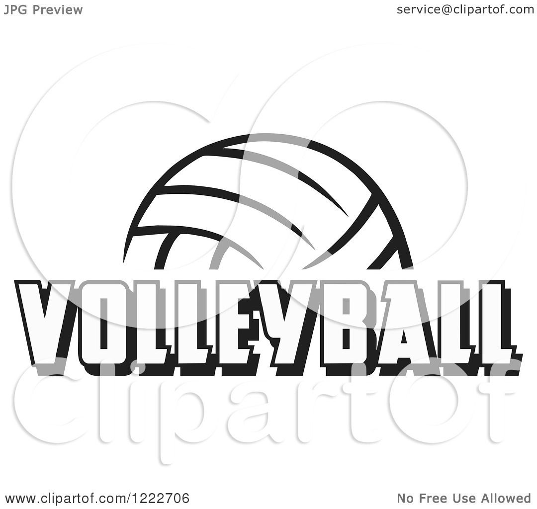 Clipart Of A Black And White Ball With Volleyball Text