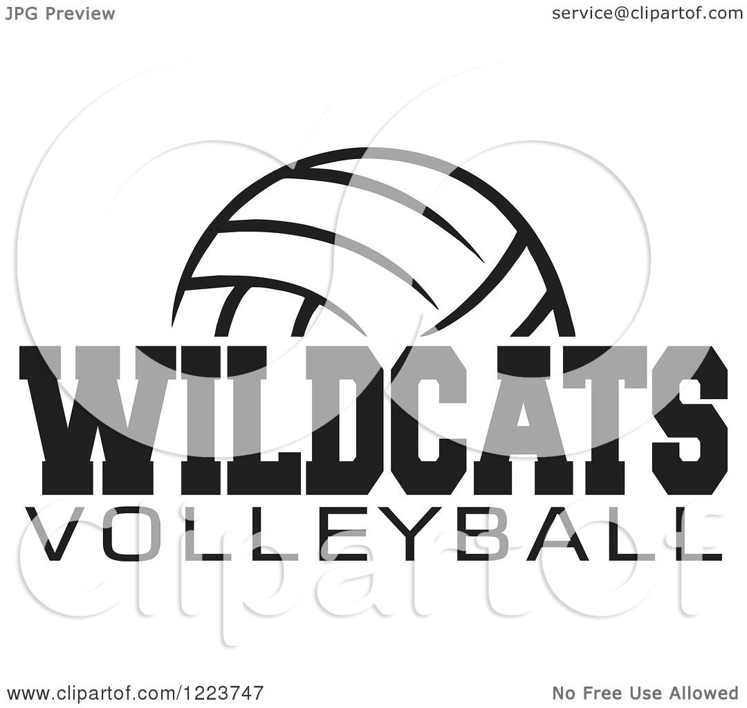 Clipart Of A Black And White Ball With Wildcats Volleyball