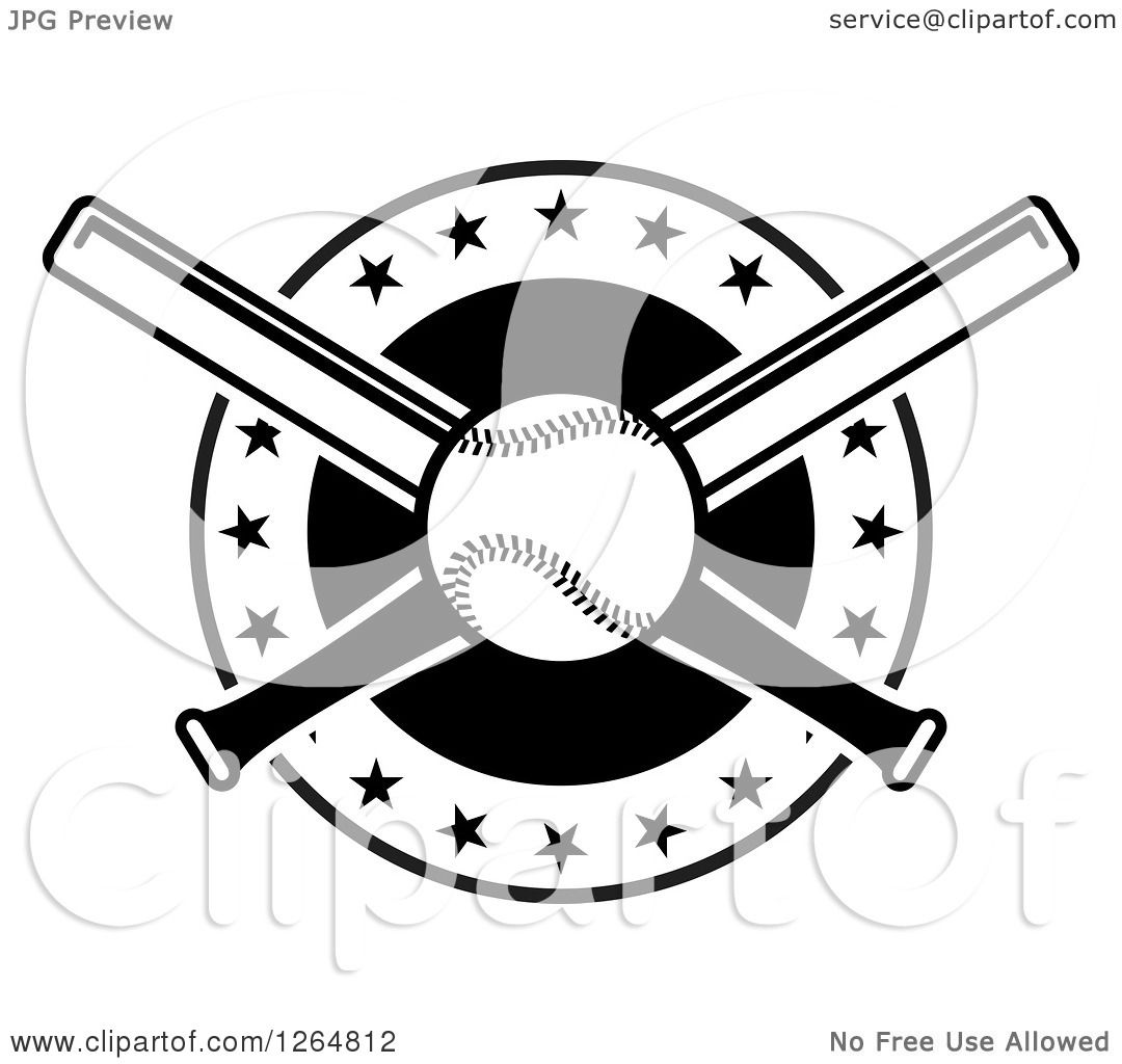 Clipart Of A Black And White Baseball And Crossed Bats In A Circle With Stars