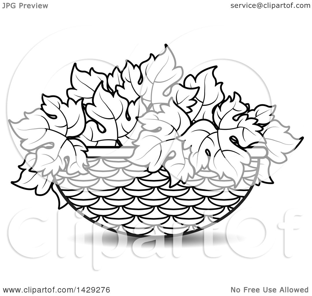 Clipart Of A Black And White Basket Of Gleaves