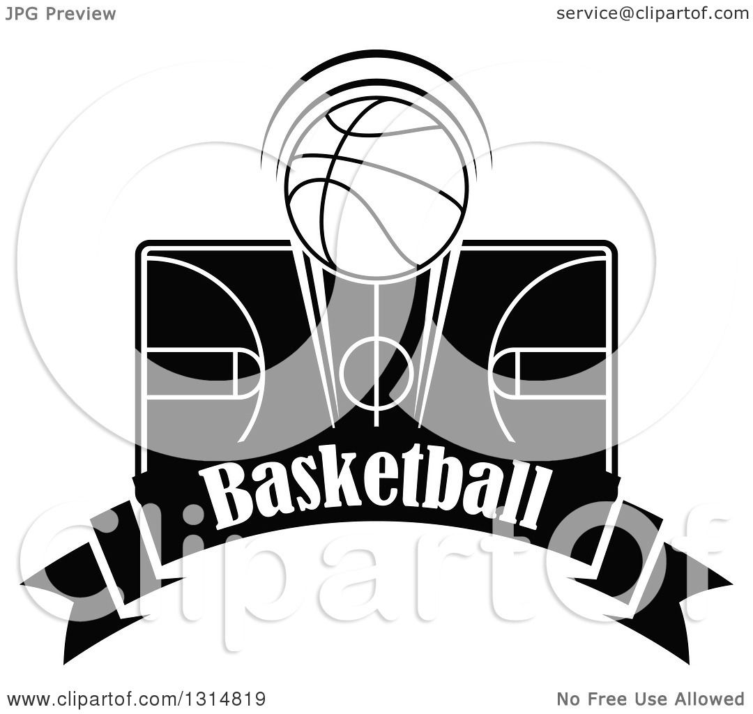 Clipart Of A Black And White Basketball Over A Court And Text Banner