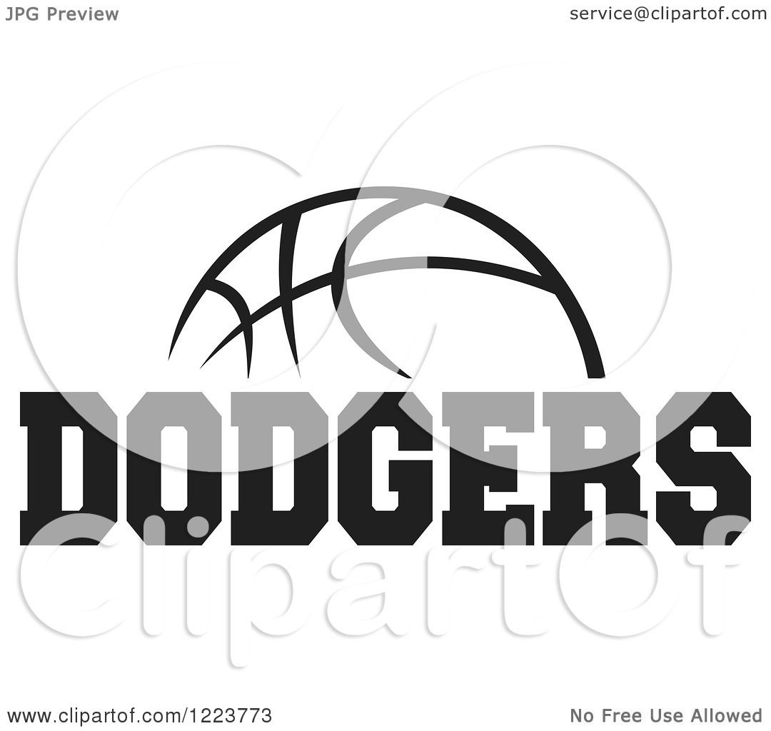 Clipart Of A Black And White Basketball With Dodgers Text