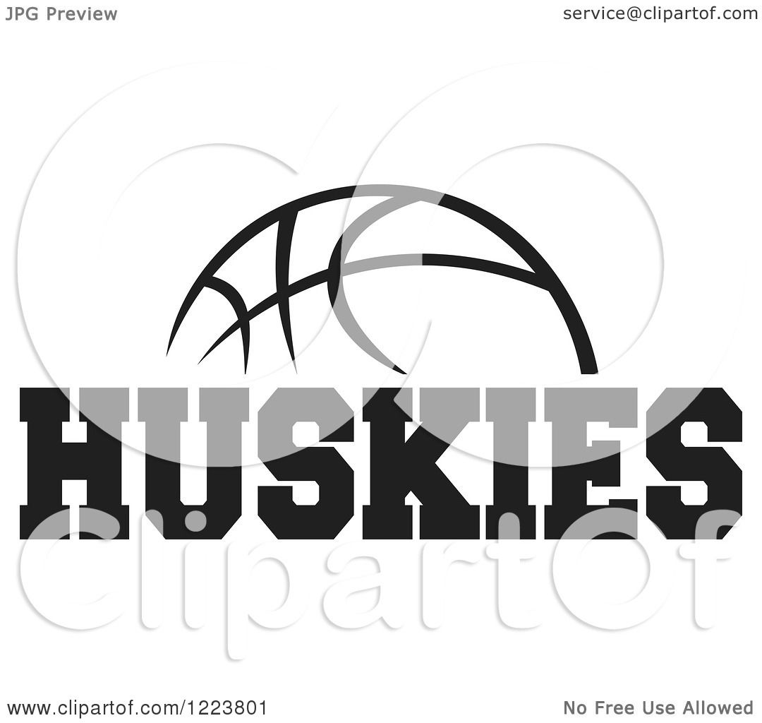 Clipart Of A Black And White Basketball With Huskies Text