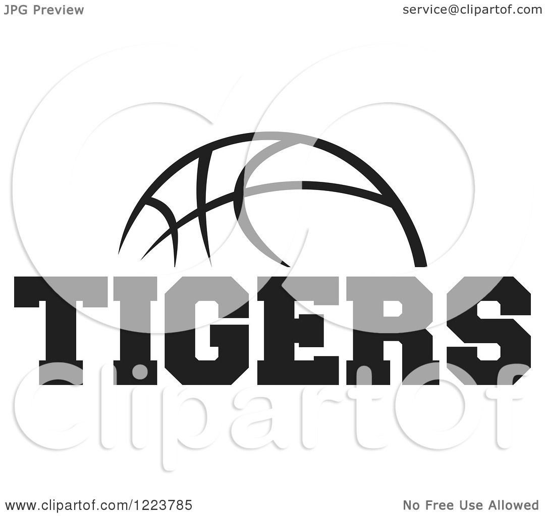 Clipart Of A Black And White Basketball With Tigers Text