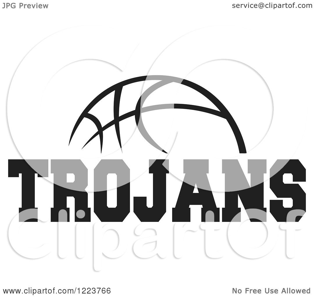 Clipart Of A Black And White Basketball With Trojans Text