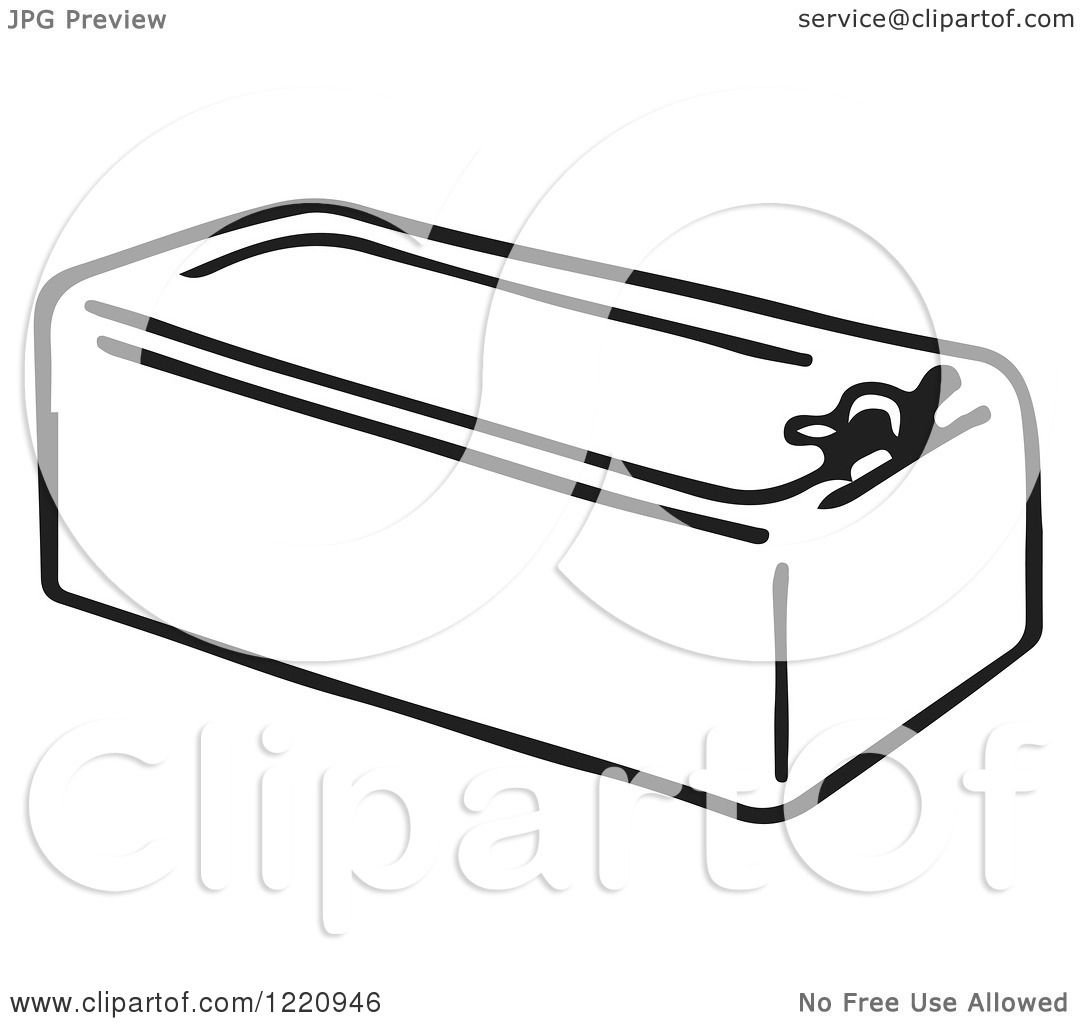 Clipart Of A Black And White Bath Tub