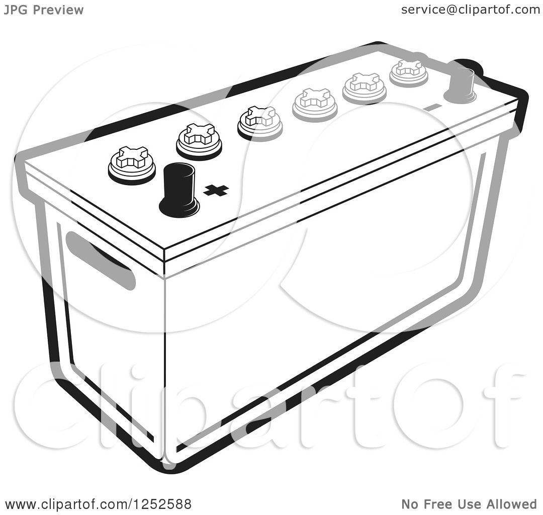 Clipart Of A Black And White Battery