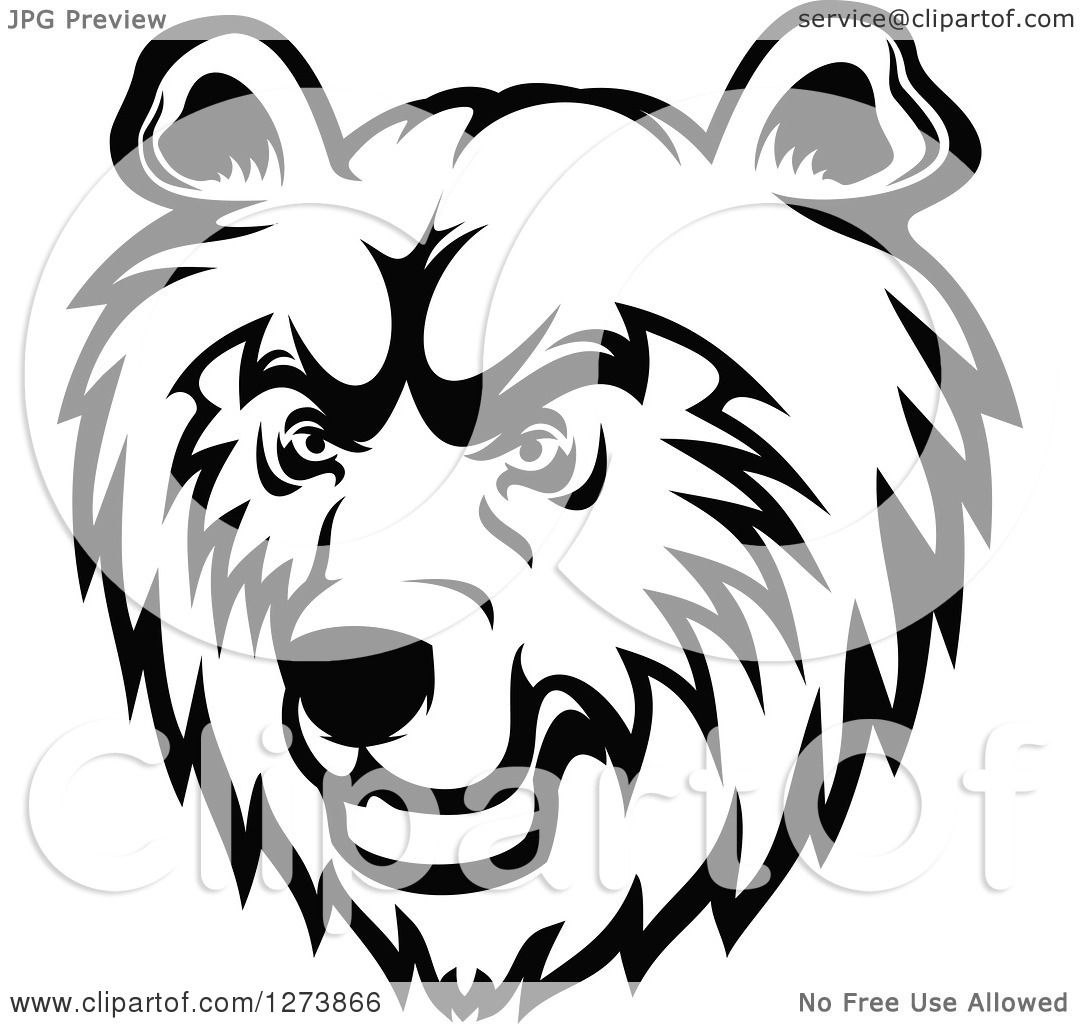 Clipart Of A Black And White Bear Face