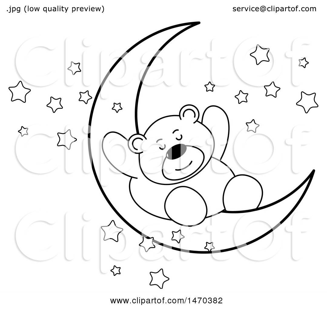 Clipart Of A Black And White Bear Sleeping On A Crescent