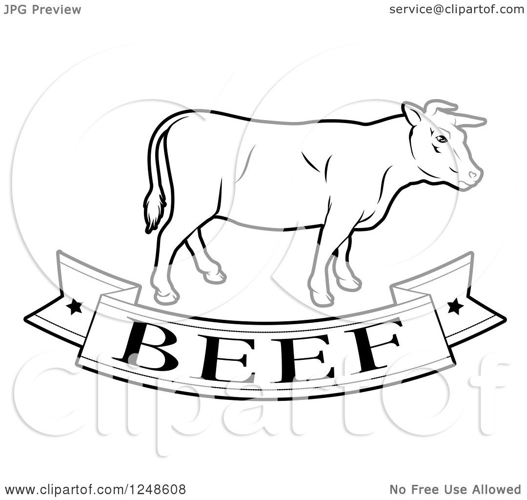 Clipart Of A Black And White Beef Food Banner And Cow