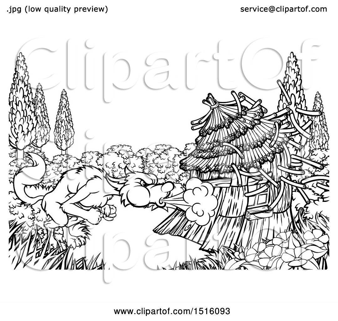 Clipart Of A Black And White Big Bad Wolf Blowing Down A