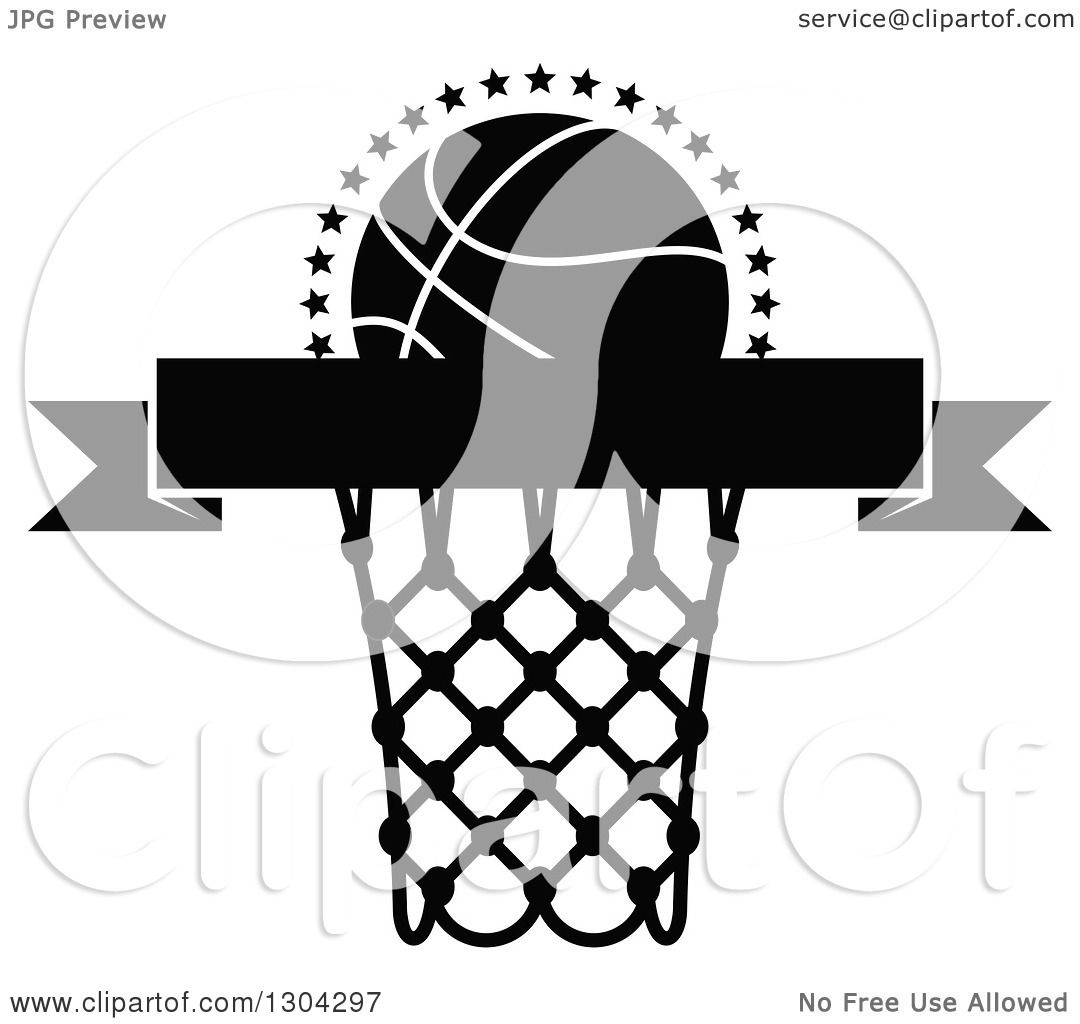 Clipart Of A Black And White Blank Black Banner With A