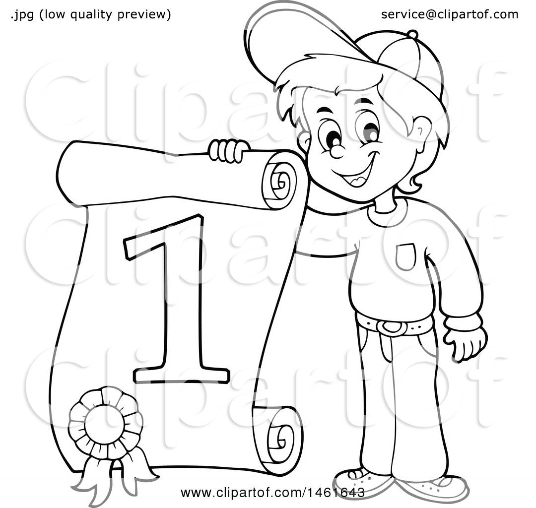 Clipart Of A Black And White Boy Holding A First Place
