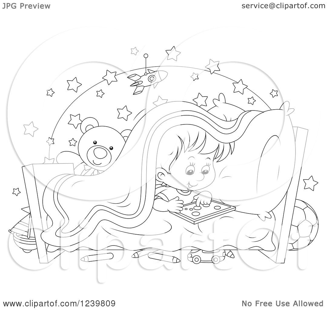 Clipart Of A Black And White Boy Playing At Bed Time