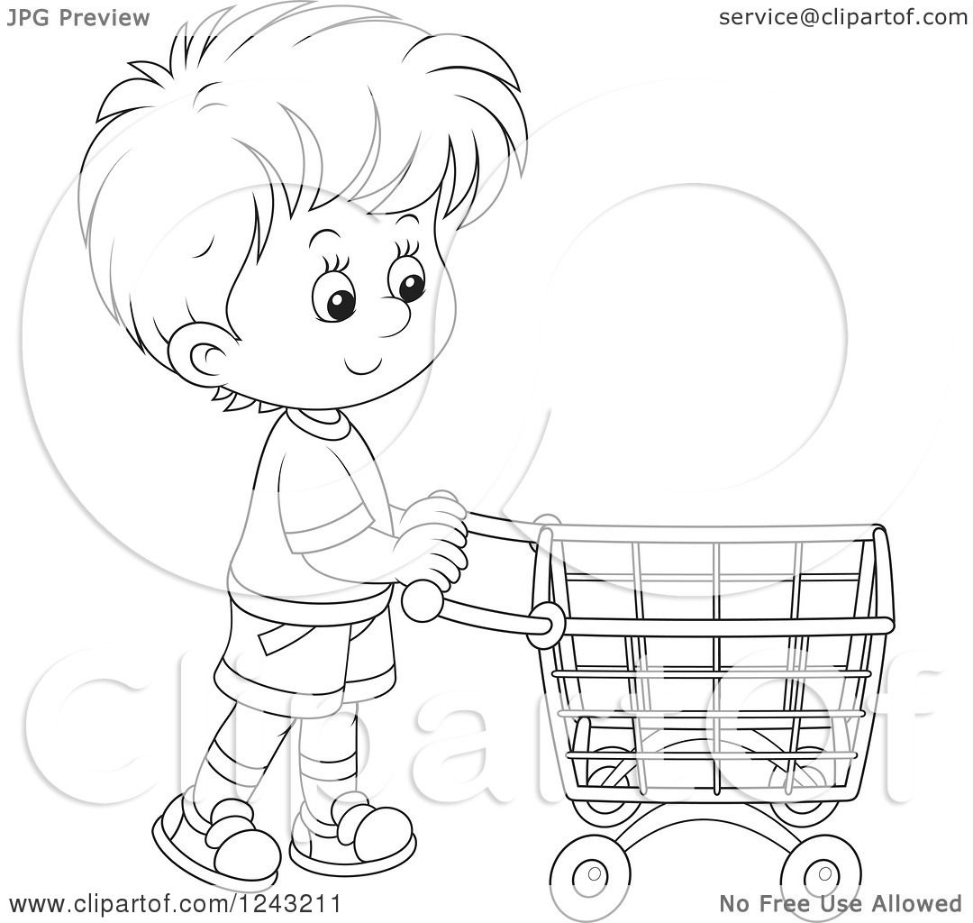 Clipart Of A Black And White Boy Pushing A Shopping Cart