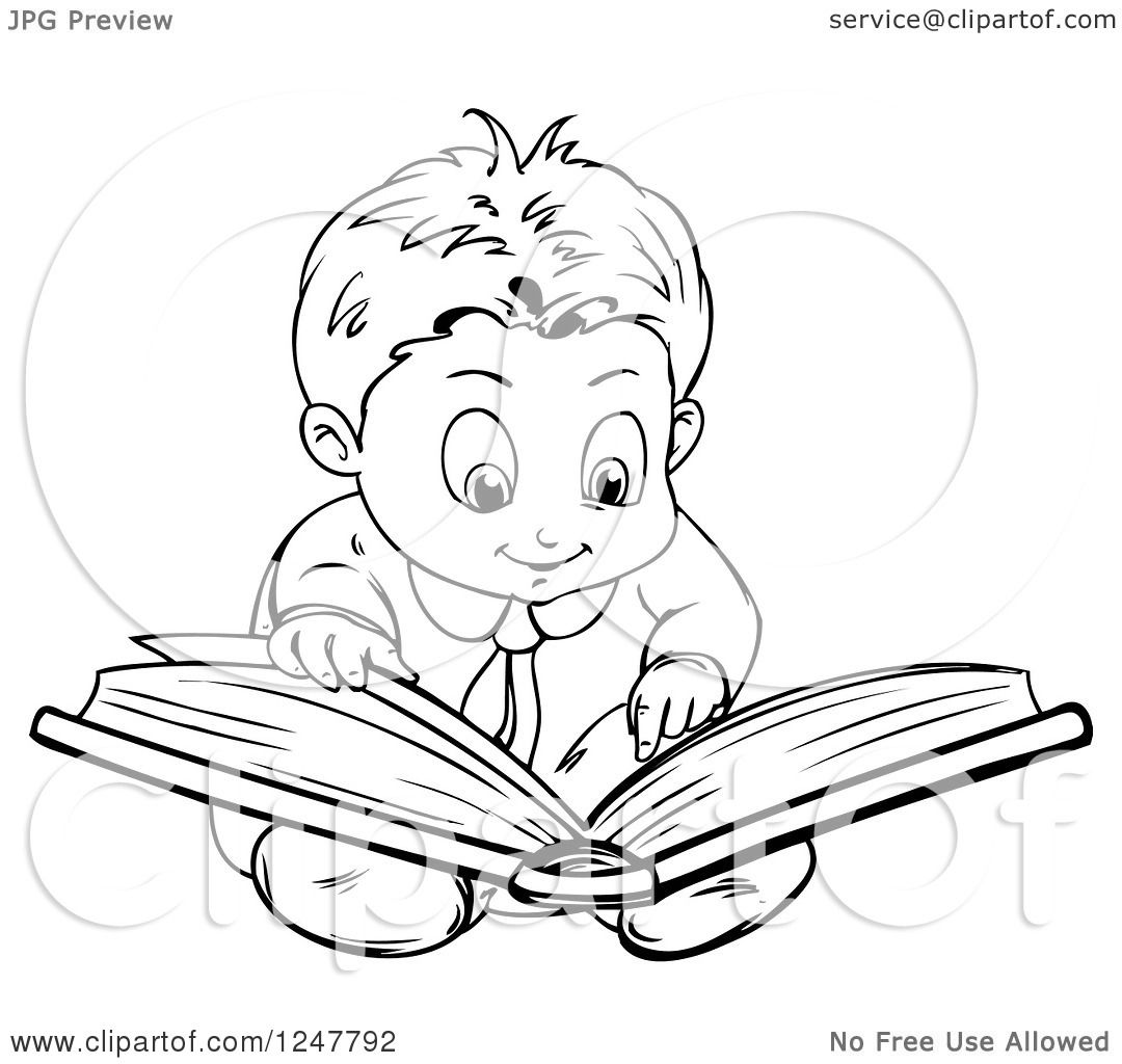 Clipart Of A Black And White Boy Reading A Book On The