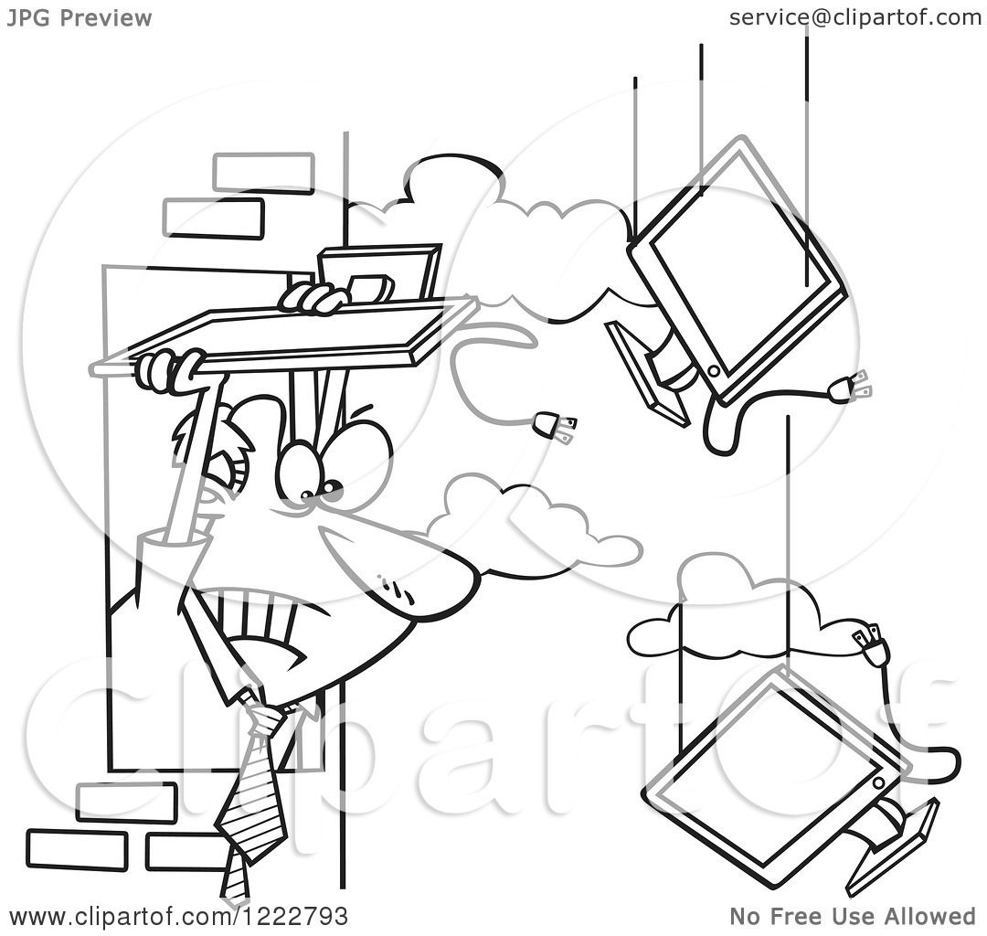 Clipart Of A Black And White Businessman Throwing Old Monitors Out An Office Window